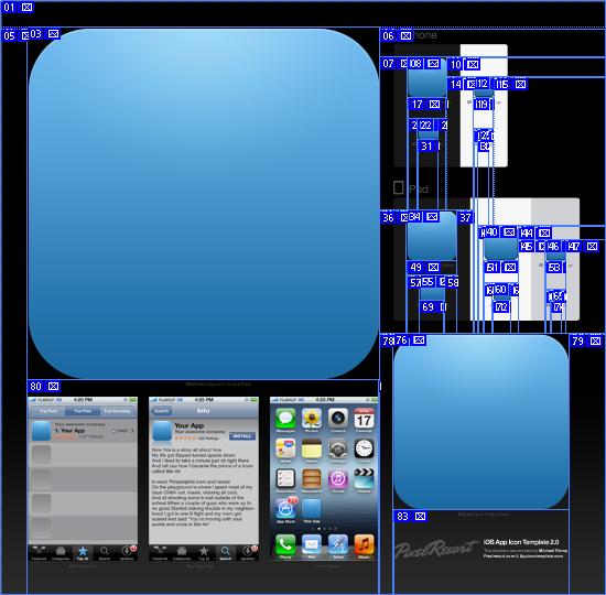 ios app icon template psdで配布されているiosアプリアイコン用